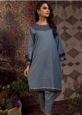 Dhanak Embroidered Khaddar Stitched 2 Piece Suit DC-0193 Blue