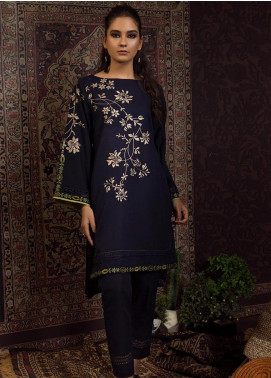 Dhanak Embroidered Khaddar Stitched 2 Piece Suit DC-0195 Navy Blue