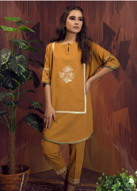 Dhanak Embroidered Khaddar Stitched 2 Piece Suit DC-0197 Yellow