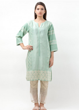 Dhanak Embroidered Cotton Net Stitched Kurtis Green DA-0499