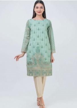 Dhanak Embroidered Organza Stitched Kurtis Green DA-0675