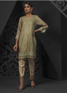 Dhanak Embroidered Khaadi Net Stitched Kurtis Green DA-1029