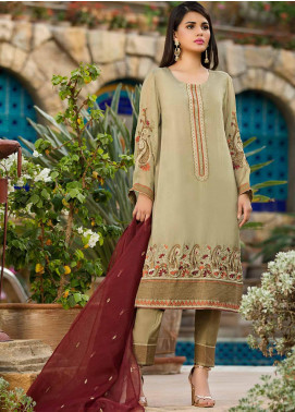 Dhanak Embroidered Raw Silk Stitched 2 Piece Suit Green DA-1060