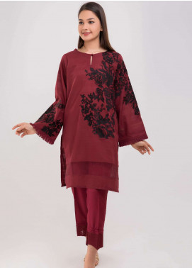 Dhanak Embroidered Jacquard Stitched Kurtis Maroon DC-0108