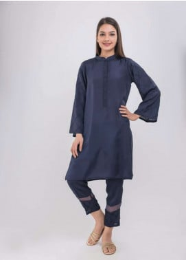 Dhanak Embroidered Raw Silk Stitched 2 Piece Suit NAVY BLUE DA-1035