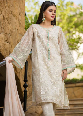 Dhanak Embroidered Organza Stitched 2 Piece Suit Off White DA-1061