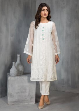 Dhanak Embroidered Khaadi Net Stitched Kurtis Off White DA-1126