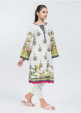 Dhanak Printed Lawn Stitched Kurtis Off White DC-0118
