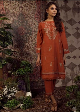 Dhanak Embroidered Khaddar Stitched 2 Piece Suit Rust DC-0194