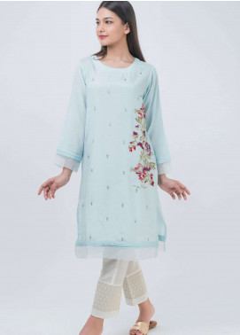 Dhanak Embroidered Khaadi Net Stitched Kurtis Sky Blue DA-1031