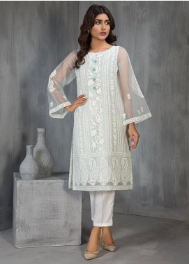 Dhanak Embroidered Organza Stitched Kurtis Sky Blue DA-1126