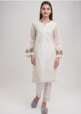 Dhanak Embroidered Cotton Net Stitched Kurtis White DA-1000