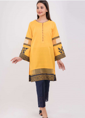 Dhanak Embroidered Jacquard Stitched Kurtis Yellow DC-0109