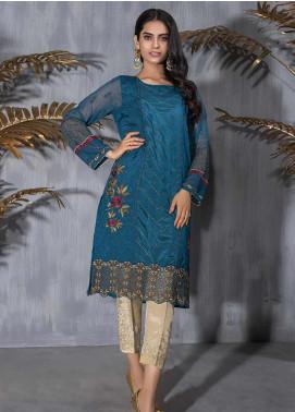 Dhanak Embroidered Raw Silk Stitched Kurtis DA-1093 Blue
