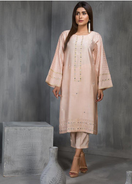 Dhanak Embroidered Cotton Net Stitched Kurtis DA-1108 Peach