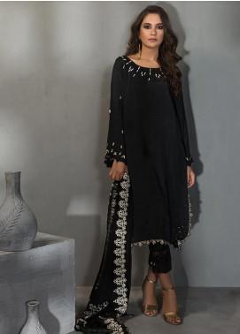 Dhanak Embroidered Raw Silk Stitched 2 Piece Suit DA-1113 Black
