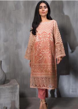 Dhanak Embroidered Tissue Silk Stitched Kurtis DA-1114 Pink
