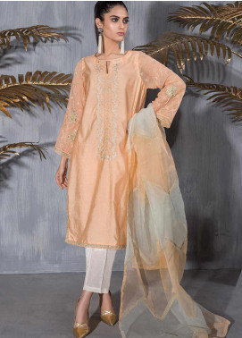 Dhanak Embroidered Cotton Net Stitched 2 Piece Suit DA-1120 Peach