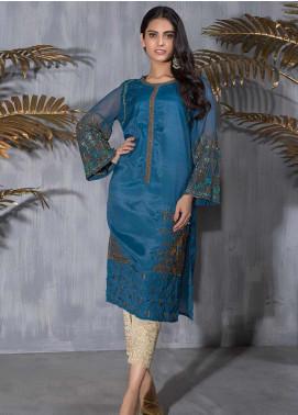 Dhanak Embroidered Raw Silk Stitched Kurtis DA-1133 Blue