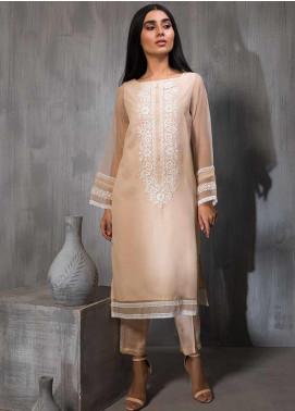 Dhanak Embroidered Tissue Stitched Kurtis DA-1138 Peach
