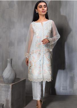 Dhanak Embroidered Tissue Silk Stitched Kurtis DA-1146 Sky Blue