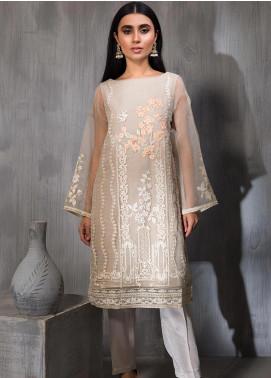 Dhanak Embroidered Tissue Silk Stitched Kurtis DA-1147 Grey
