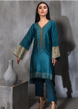 Dhanak Embroidered Cotton Net Stitched Kurtis DA-1155 Blue