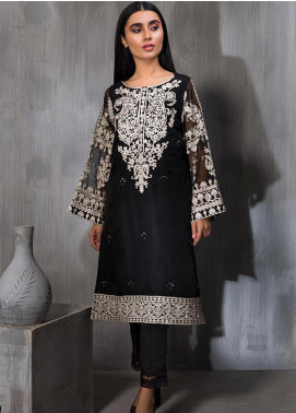 Dhanak Embroidered Organza Stitched Kurtis DA-1165 Black