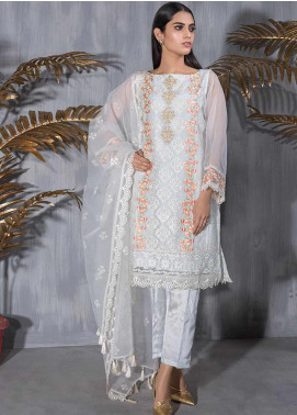 Dhanak Embroidered Tissue Stitched 2 Piece Suit DA-1174 Sky Blue