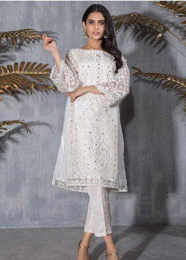 Dhanak Embroidered Organza Stitched Kurtis DA-1181 Off White