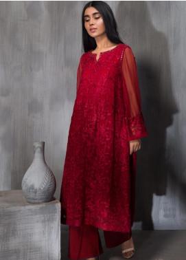 Dhanak Embroidered Chiffon Stitched Kurtis DA-1182 Red
