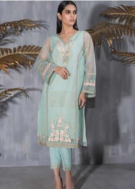 Dhanak Embroidered Tissue Stitched Kurtis DA-1183 Green