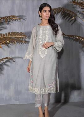 Dhanak Embroidered Khaadi Net Stitched Kurtis DA-1185 Grey