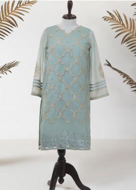 Dhanak Embroidered Organza Stitched Kurti DA-1197 GREEN