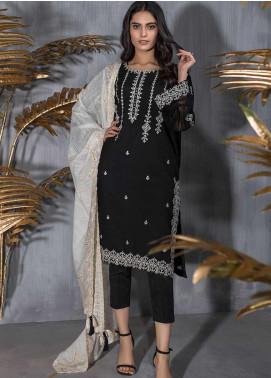 Dhanak Embroidered Khaadi Net Stitched 2 Piece Suit DA-1204 Black