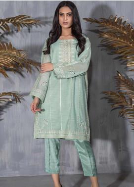 Dhanak Embroidered Khaadi Net Stitched Kurtis DA-1209 Green