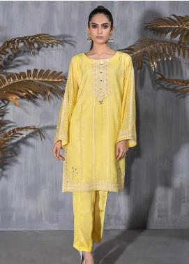 Dhanak Embroidered Khaadi Net Stitched Kurtis DA-1209 Yellow
