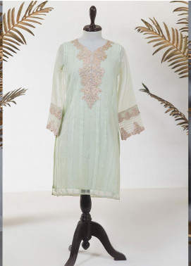 Dhanak Embroidered Tissue Stitched Kurti DA-1216 LIGHT GREEN