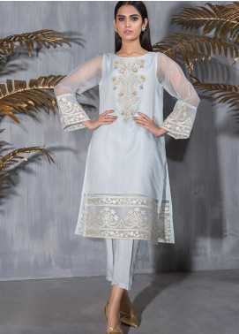 Dhanak Embroidered Tissue Stitched Kurti DA-1247 SKY BLUE
