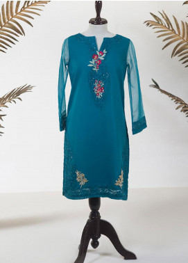 Dhanak Embroidered Tissue Stitched Kurti DA-1250 SEA GREEN