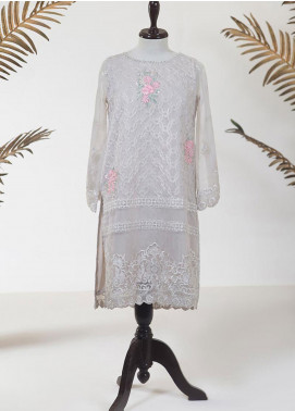 Dhanak Embroidered Tissue Stitched Kurti DA-1282 LIGHT GREY