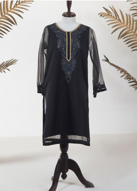Dhanak Embroidered Organza Stitched Kurti DA-1287 BLACK
