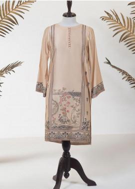 Dhanak Printed Cotton Net Stitched Kurti DA-1310 BEIGE