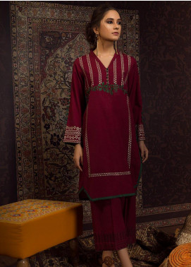 Dhanak Embroidered Khaddar Stitched 2 Piece Suit DC-0198 Maroon