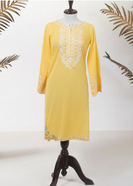 Dhanak Embroidered Lawn Stitched Kurti DC-0220 YELLOW