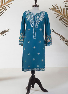 Dhanak Embroidered Lawn Stitched Kurti DC-0228 BLUE