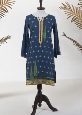 Dhanak Embroidered Jacquard Stitched Kurti DC-0239 BLUE
