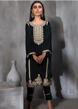 Dhanak Embroidered Velvet Stitched Kurtis Green DA-1189
