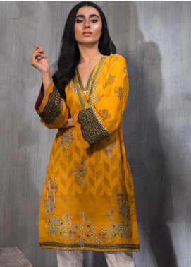 Dhanak Embroidered Khaddar Stitched Kurtis Yellow DC-0210