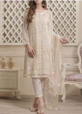 Dhanak Embroidered Chiffon Unstitched 3 Piece Suit DK20LC DU-0016 OFF WHITE - Luxury Collection